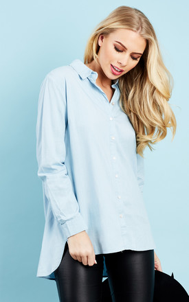Light Blue Chambray Long Sleeve Button Down Shirt by Glamorous