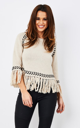 Knitted Tassel Hem Jumper With Black Stitching by Glamorous Product photo