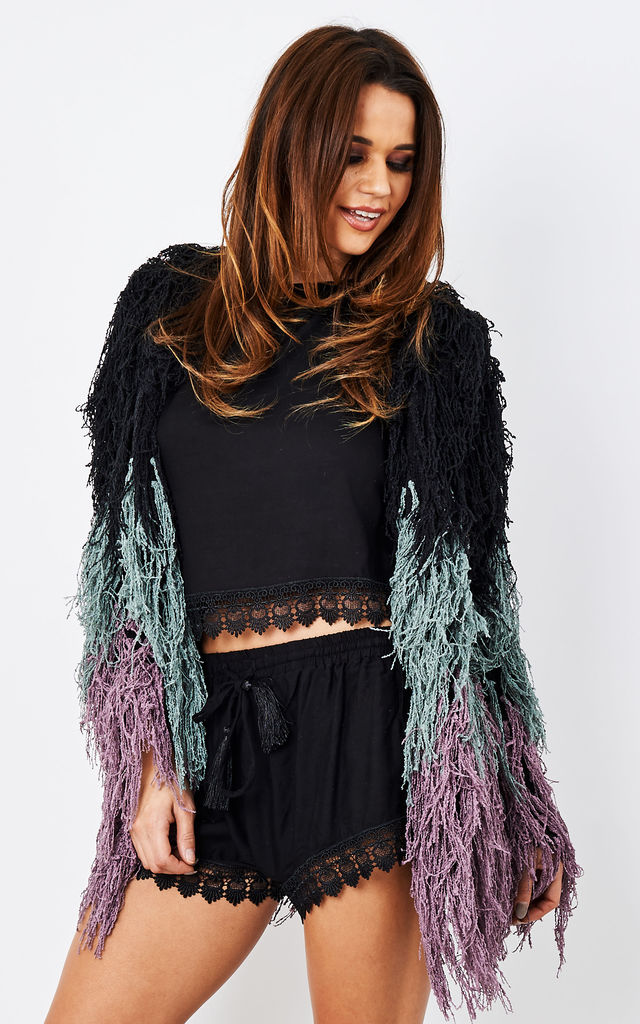 Black & purple knitted shaggy jacket by Narlaka