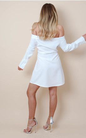 White Off Shoulder Tie Waist Wrap Dress by Pretty Lavish