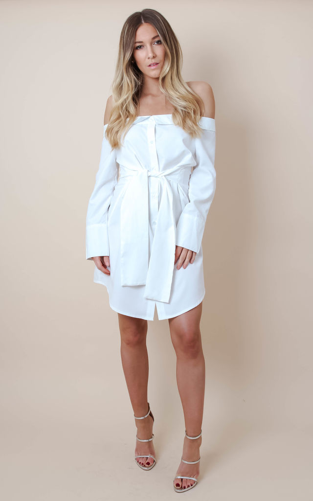 7134abd41ce438 White Off Shoulder Tie Waist Wrap Dress by Pretty Lavish