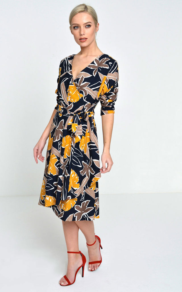 Billie Floral Wrap Dress in Navy by Marc Angelo