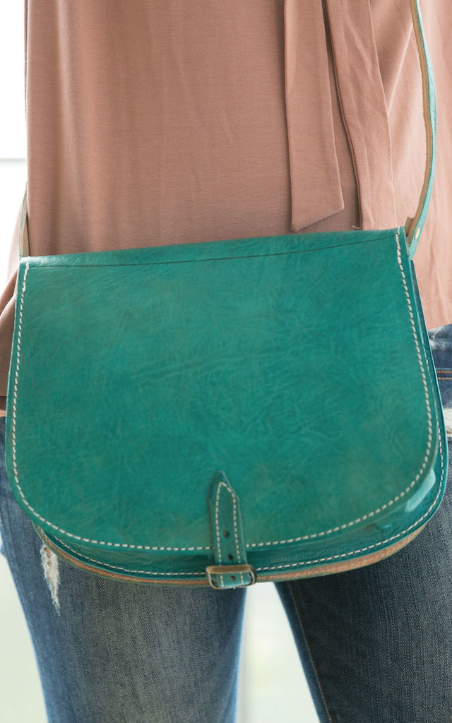 Engraved Messenger Bag - Turquoise by be-snazzy