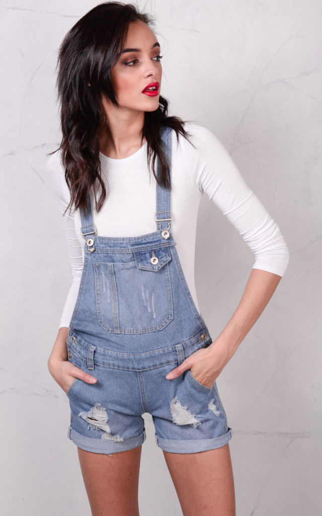 Ripped Denim Dungaree Shorts by LILY LULU FASHION