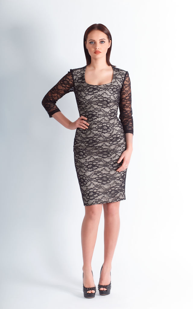 midi pencil dress with lace top for wedding by JEVA FASHION