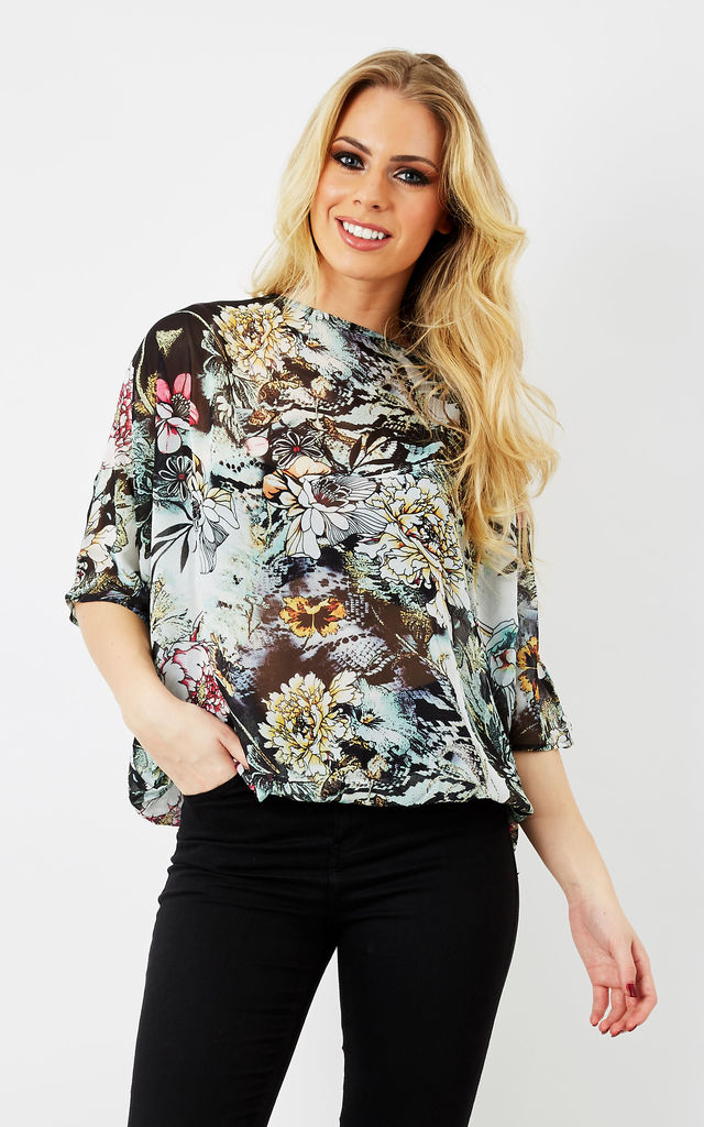 JALYN - Floral Printed Batwing Top by Blue Vanilla