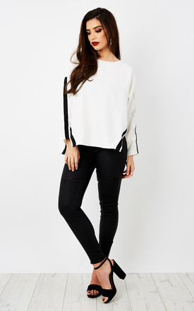 Flared Long Sleeve White Top by Glamorous Product photo
