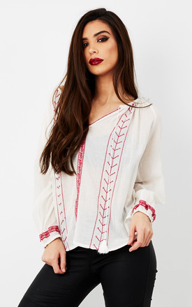Gypsy Tie Top Cream And Red Embroidered by Glamorous Product photo