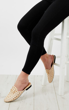 Beige Gold Stud Slip On Loafters by Bella and Blue