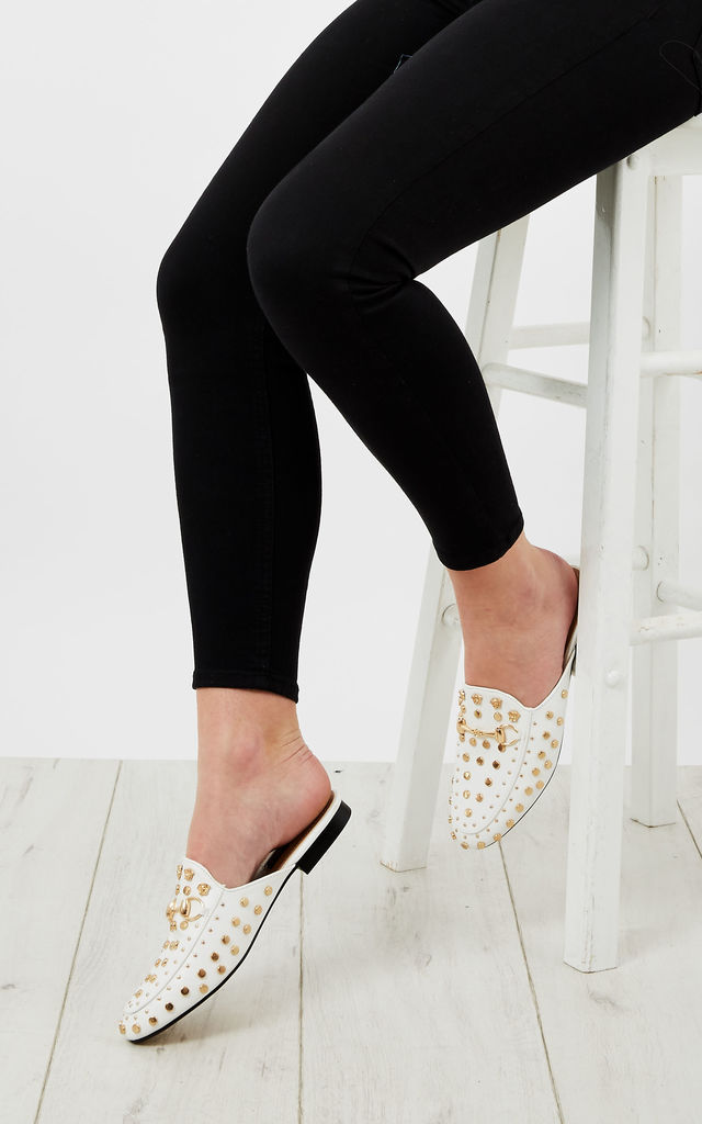 White Gold Stud Slip On Loafters by Bella and Blue