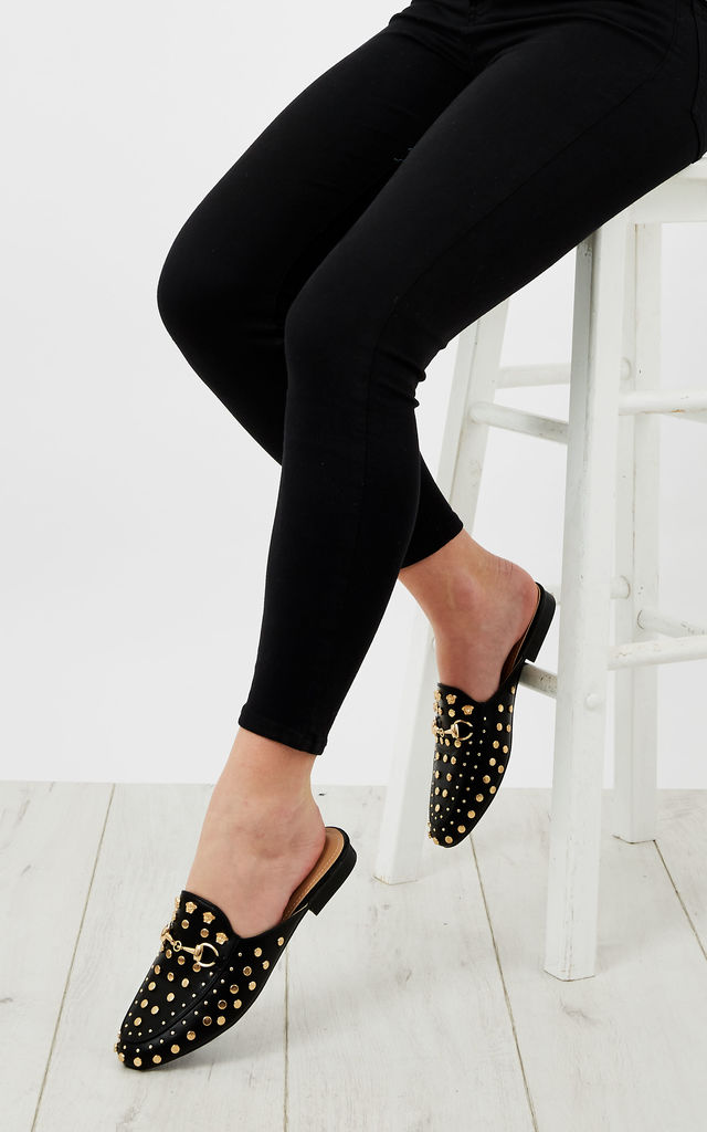 Black Gold Stud Slip On Loafters by Bella and Blue