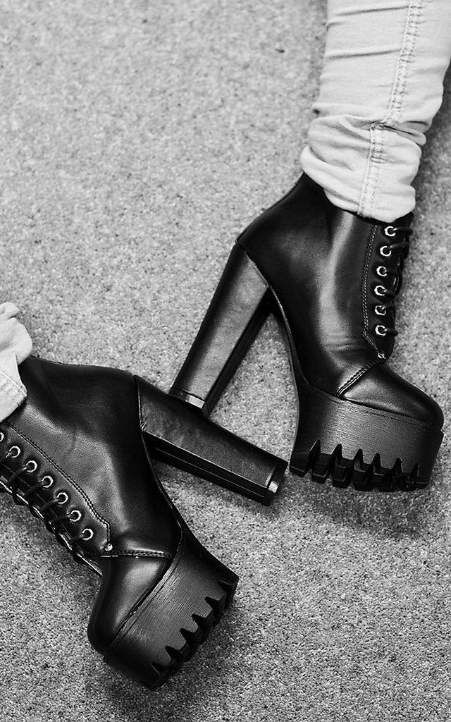 REMIX Cleated Sole Platform Ankle Boots - Black Leather Style by SpyLoveBuy