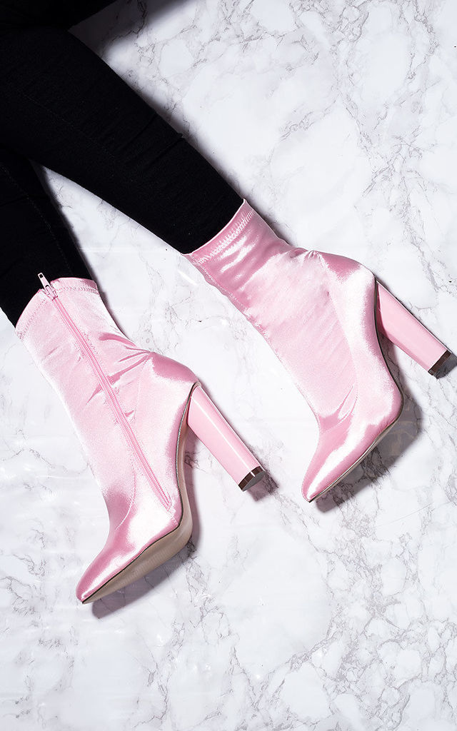 RHINO Fitted Sock Pointed Toe Block Heel Ankle Boots Shoes - Pink Satin Lyrca Style by SpyLoveBuy