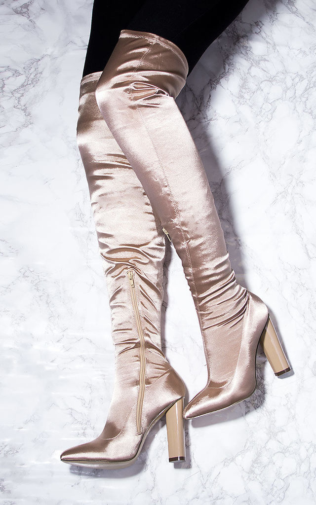 VAGAS Pointed Toe Block Heel Thigh Boots - Beige Satin Style Lycra by SpyLoveBuy