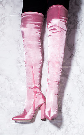 VAGAS Pointed Toe Block Heel Thigh Boots - Pink Satin Style Lycra by SpyLoveBuy