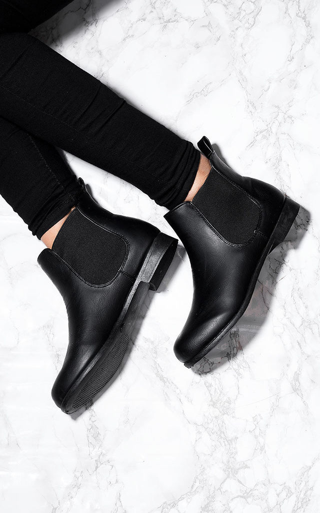 PARKIN Flat Chelsea Ankle Boots Shoes - Black Leather Style by SpyLoveBuy
