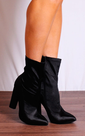 Black Satin Sock Pull On Pointed Ankle Boots High Heels by Shoe Closet