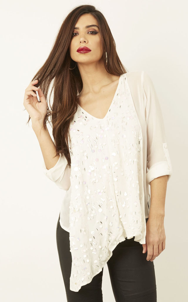 White Sequin Waterfall Front Blouse by Glamorous