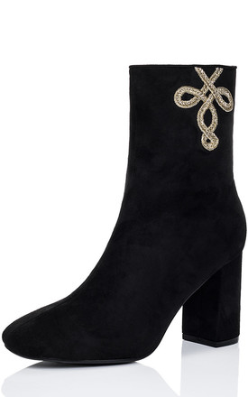 BELUGA Embroidered Block Heel Ankle Boots Shoes - Black Suede Style by SpyLoveBuy