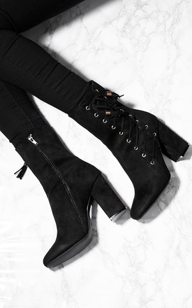 COYOTEE Lace Up Block Heel Ankle Boots Shoes - Black Suede Style by SpyLoveBuy