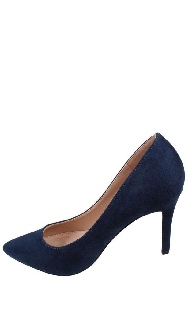 Navy Faux Suede Pumps by Jezzelle