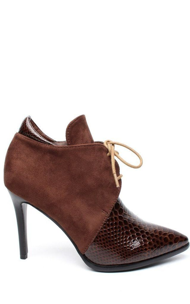 Croc Effect & Faux Suede Brown Ankle Boots by Jezzelle