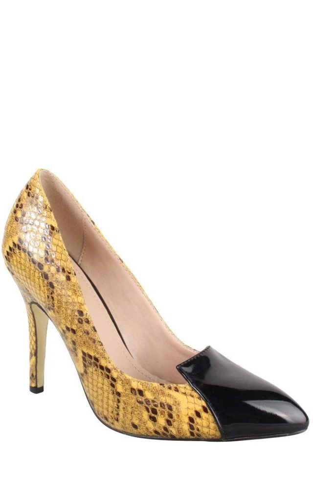 Yellow Snake High Heel Shoes by Jezzelle