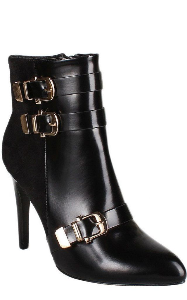 Buckle Detailed High Heel Ankle Boots by Jezzelle