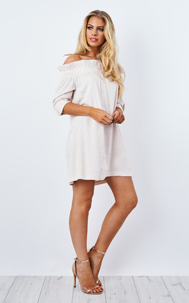 Business Class Off Shoulder Dress Beige by Mink Pink Product photo