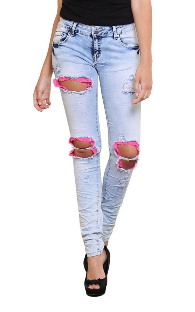 Pink Details Distressed Bleached Jeans by Jezzelle