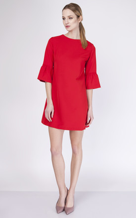 Shift Dress with Bell Sleeves In Red by Lanti