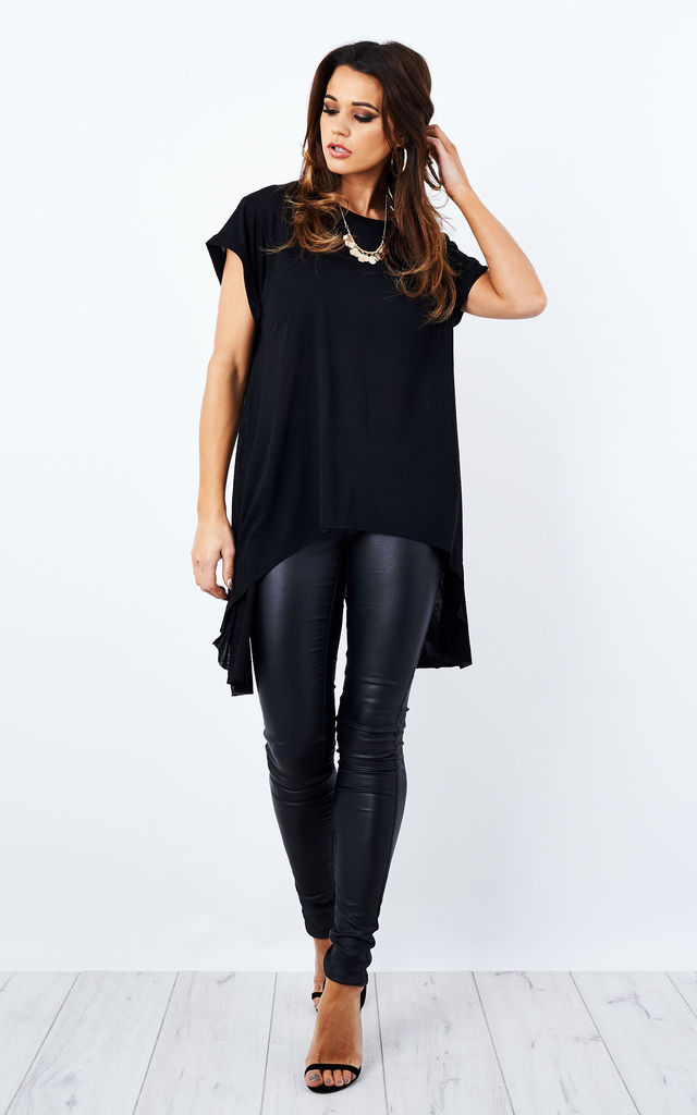 Black Short Sleeve Cross Back Top by Glamorous