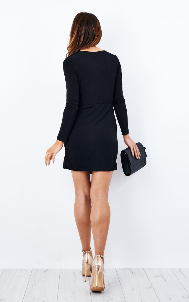 Black slinky long sleeve wrap dress by Glamorous