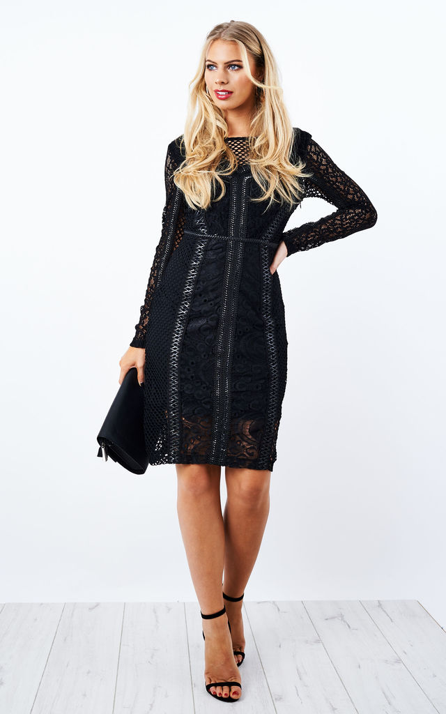 BLACK LACE CUT OUT LACE UP BACK BODYCON DRESS by Glamorous