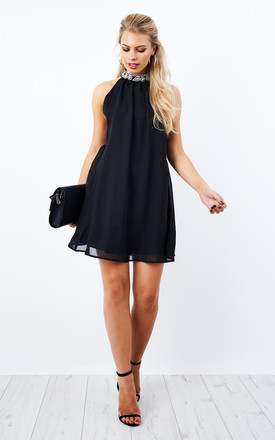 Black Embellished Chiffon Dress by Glamorous Product photo