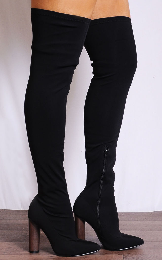 Black Lycra Over the Knee Stretch Sock Pull On Boots by Shoe Closet