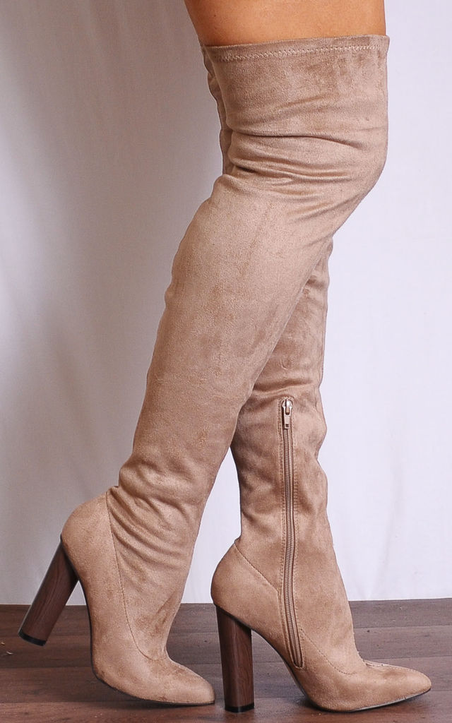 Brown Over the Knee Stretch Pointed Boots by Shoe Closet