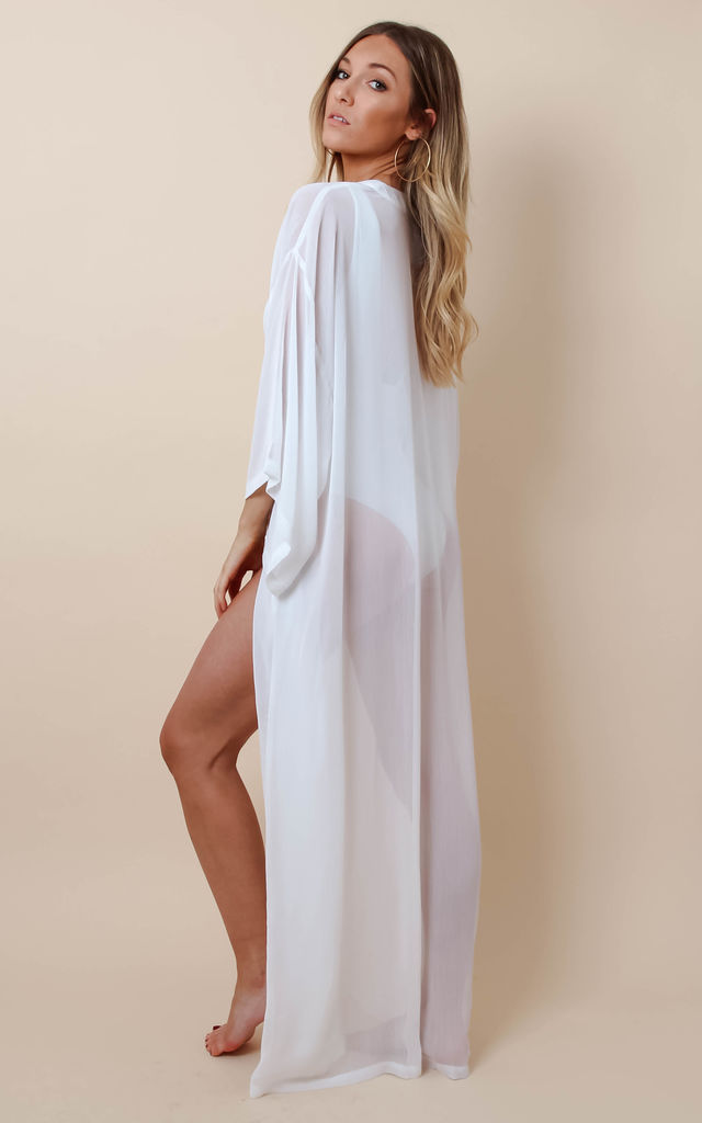 Maxi Sheer Kimono - White by Pretty Lavish