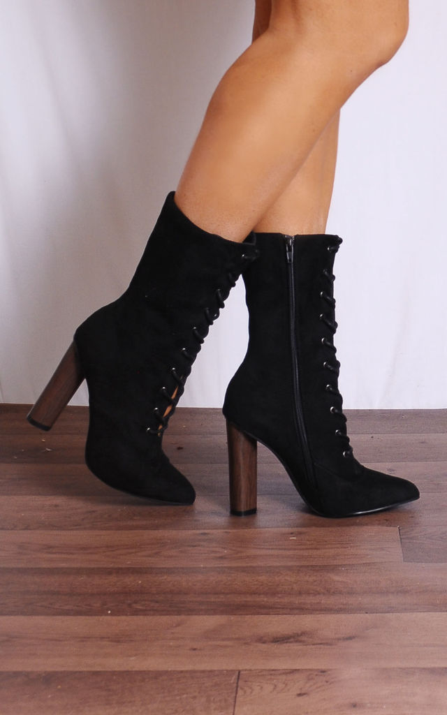 Black Lace Ups Pointed Heeled Ankle Boots by Shoe Closet