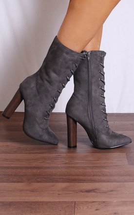 Grey Lace Ups Pointed Heeled Ankle Boots by Shoe Closet