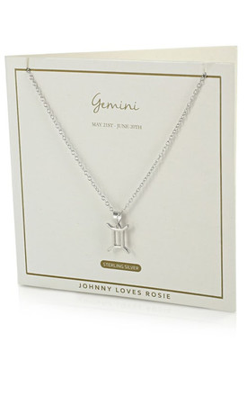 Sterling Silver Zodiac Gemini Necklace by Johnny Loves Rosie