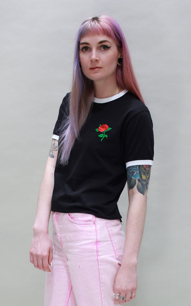 Sophie Red Rose Ringer Tee by Tallulah's Threads
