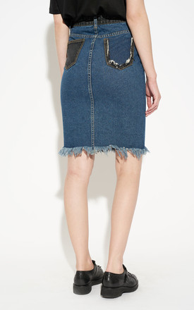 Colour Block Midi Denim Frayed Hem Skirt by Momokrom