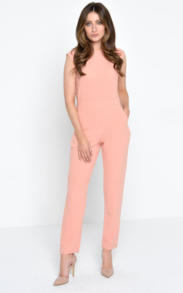 Triona Lace Back Jumpsuit in Blush by Marc Angelo