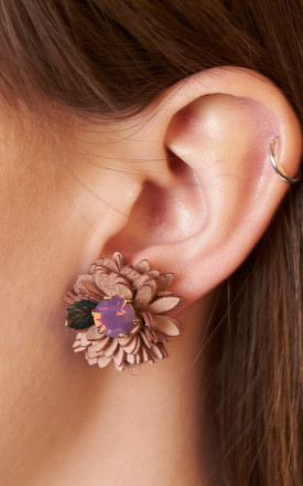 Suede Flower Stud Earrings Purple Velvet by DOSE of ROSE Product photo
