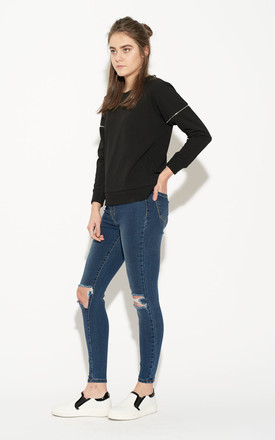 Destroyed Knee High Waist Skinny Jeans by Momokrom