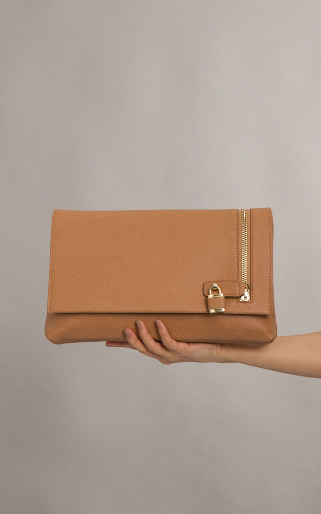 Hannah Oversized Faux Leather Clutch In Tan by KoKo Couture