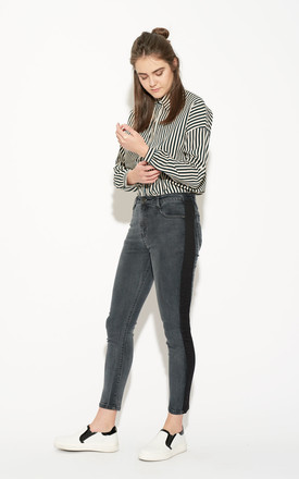 Side Panel Washed Black Skinny Jeans by Momokrom