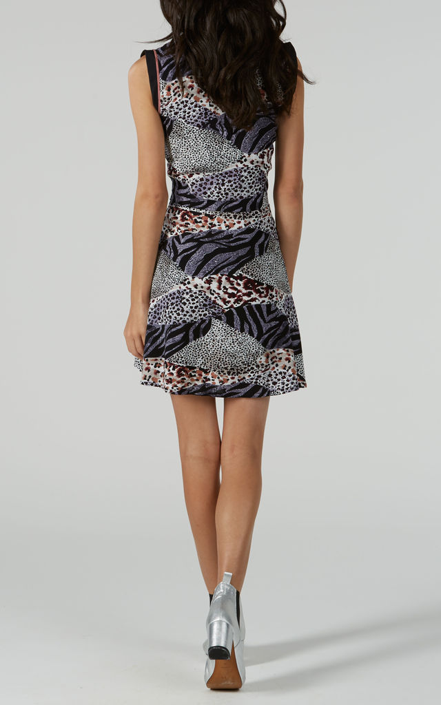 Grey Leopard Print Zip Front Dress by Ruby Rocks