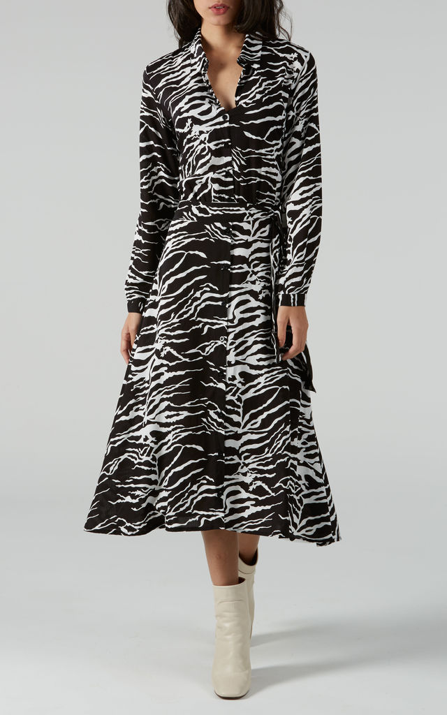 Swirl Monochrome Fit and Flare Shirt Dress by Ruby Rocks